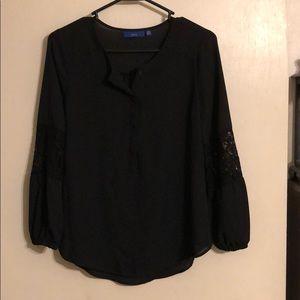 Apt.9 black long sleeve shirt w/lace design sz PXS